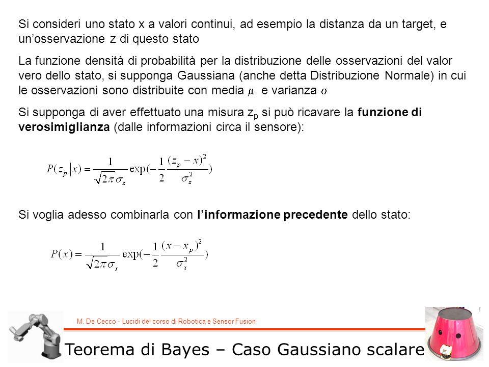 M. De Cecco - Lucidi del corso di Robotica e Sensor Fusion Teorema di Bayes – Caso Gaussiano scalare Si consideri uno stato x a valori continui, ad es