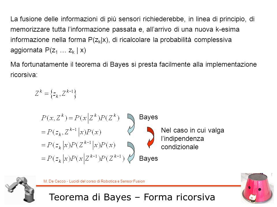 M. De Cecco - Lucidi del corso di Robotica e Sensor Fusion Teorema di Bayes – Forma ricorsiva La fusione delle informazioni di più sensori richiedereb