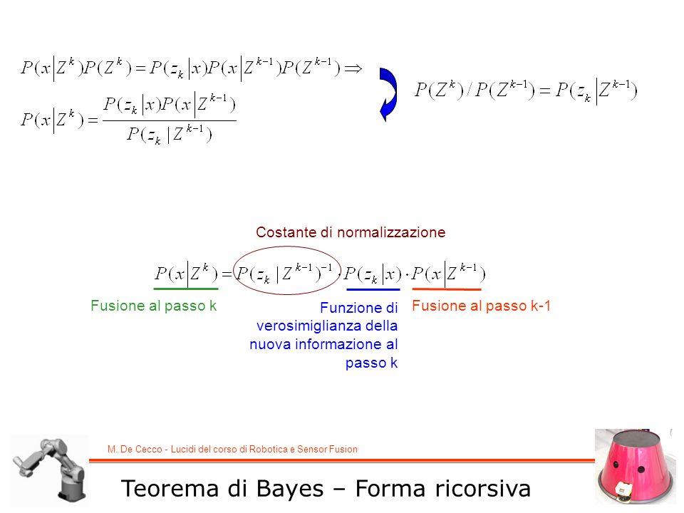 M. De Cecco - Lucidi del corso di Robotica e Sensor Fusion Teorema di Bayes – Forma ricorsiva Fusione al passo k-1 Funzione di verosimiglianza della n