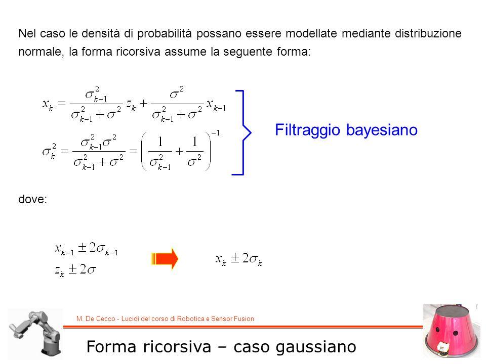 M. De Cecco - Lucidi del corso di Robotica e Sensor Fusion Forma ricorsiva – caso gaussiano Nel caso le densità di probabilità possano essere modellat