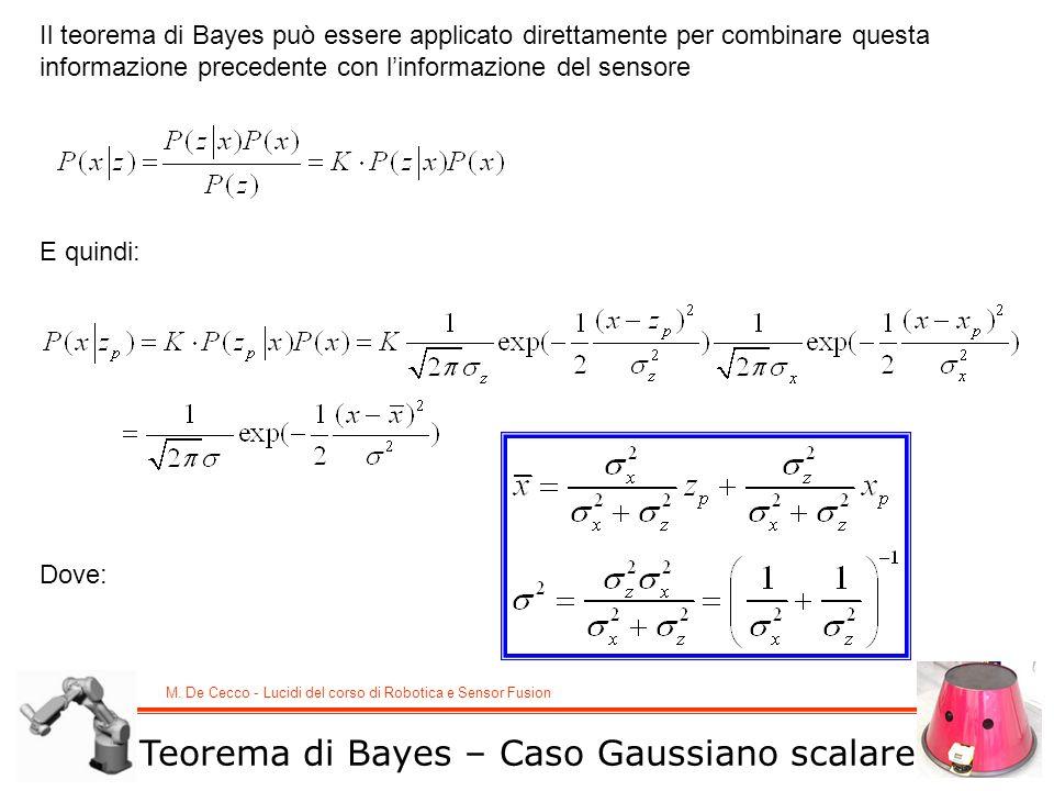 M. De Cecco - Lucidi del corso di Robotica e Sensor Fusion Il teorema di Bayes può essere applicato direttamente per combinare questa informazione pre