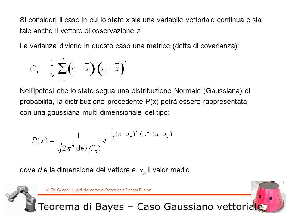 M. De Cecco - Lucidi del corso di Robotica e Sensor Fusion Teorema di Bayes – Caso Gaussiano vettoriale Si consideri il caso in cui lo stato x sia una
