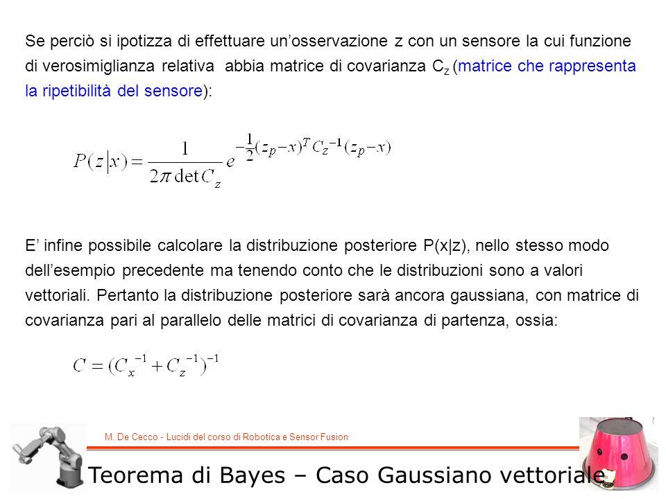 M. De Cecco - Lucidi del corso di Robotica e Sensor Fusion Teorema di Bayes – Caso Gaussiano vettoriale Se perciò si ipotizza di effettuare unosservaz