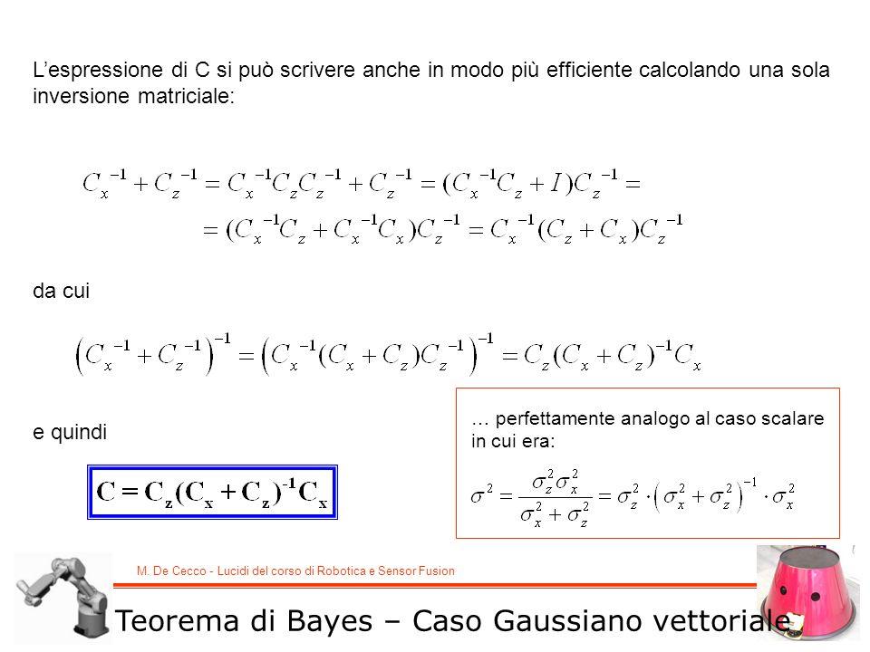 M. De Cecco - Lucidi del corso di Robotica e Sensor Fusion Teorema di Bayes – Caso Gaussiano vettoriale Lespressione di C si può scrivere anche in mod