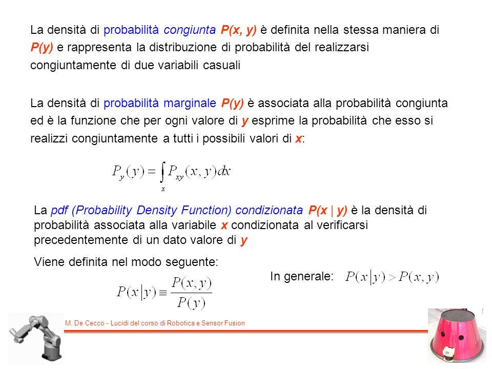 M. De Cecco - Lucidi del corso di Robotica e Sensor Fusion La densità di probabilità congiunta P(x, y) è definita nella stessa maniera di P(y) e rappr