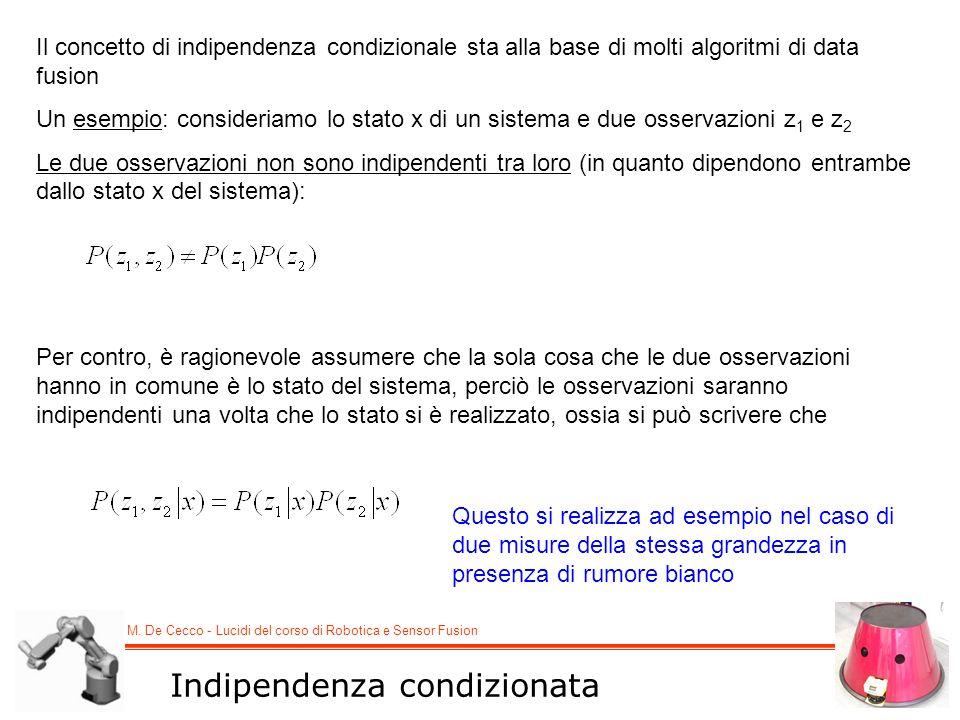 M. De Cecco - Lucidi del corso di Robotica e Sensor Fusion Il concetto di indipendenza condizionale sta alla base di molti algoritmi di data fusion Un