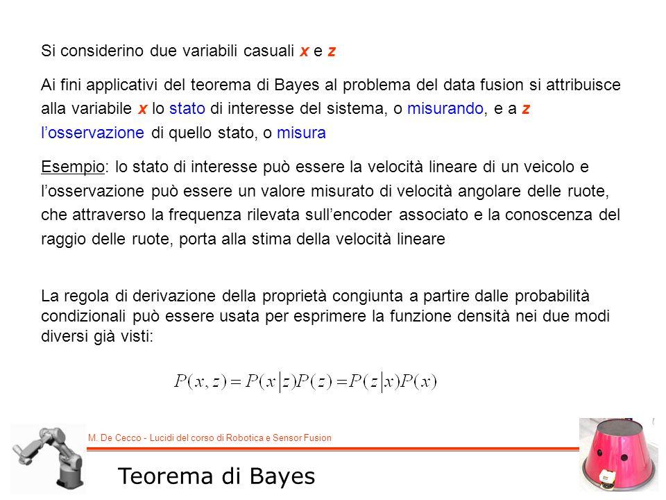 M. De Cecco - Lucidi del corso di Robotica e Sensor Fusion Teorema di Bayes Si considerino due variabili casuali x e z Ai fini applicativi del teorema