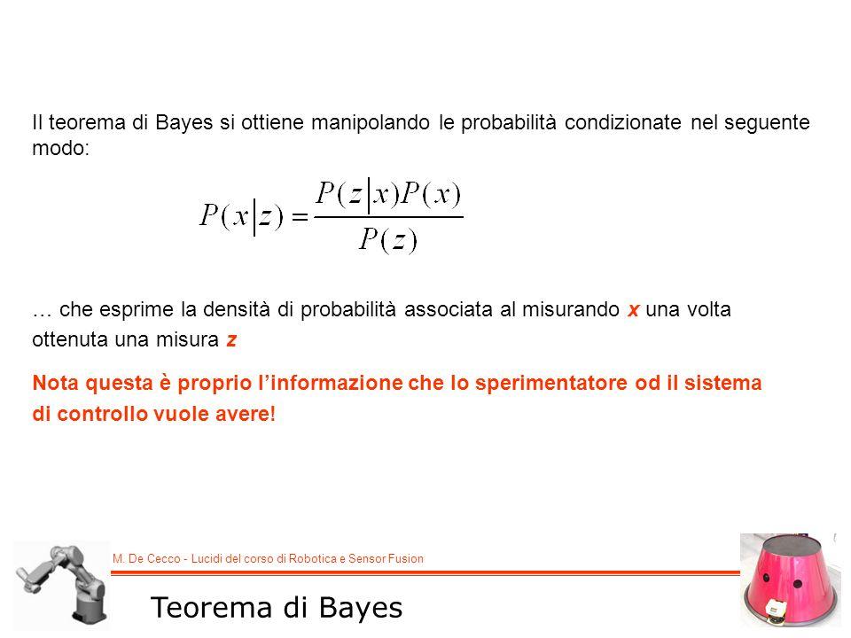M. De Cecco - Lucidi del corso di Robotica e Sensor Fusion Teorema di Bayes Il teorema di Bayes si ottiene manipolando le probabilità condizionate nel