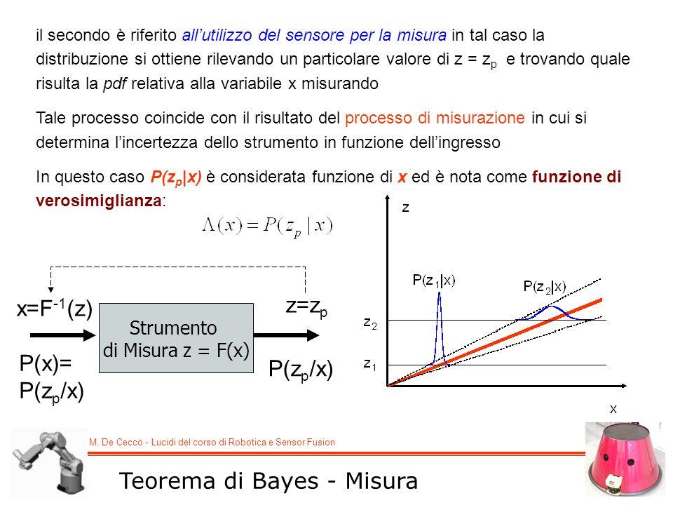 M. De Cecco - Lucidi del corso di Robotica e Sensor Fusion Teorema di Bayes - Misura il secondo è riferito allutilizzo del sensore per la misura in ta