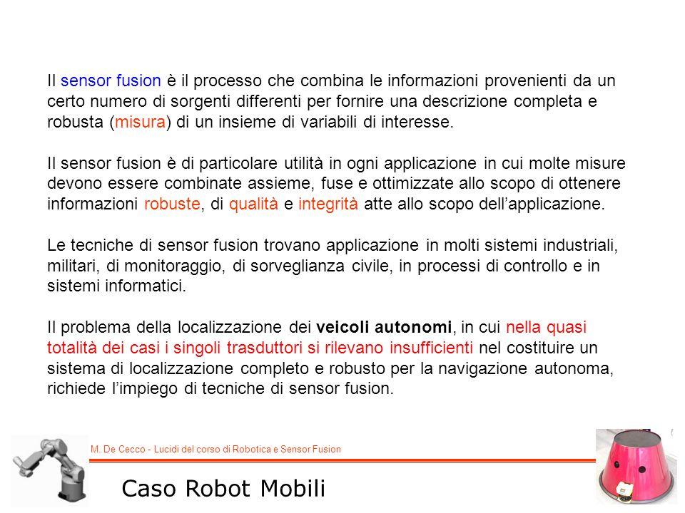 M. De Cecco - Lucidi del corso di Robotica e Sensor Fusion Il sensor fusion è il processo che combina le informazioni provenienti da un certo numero d