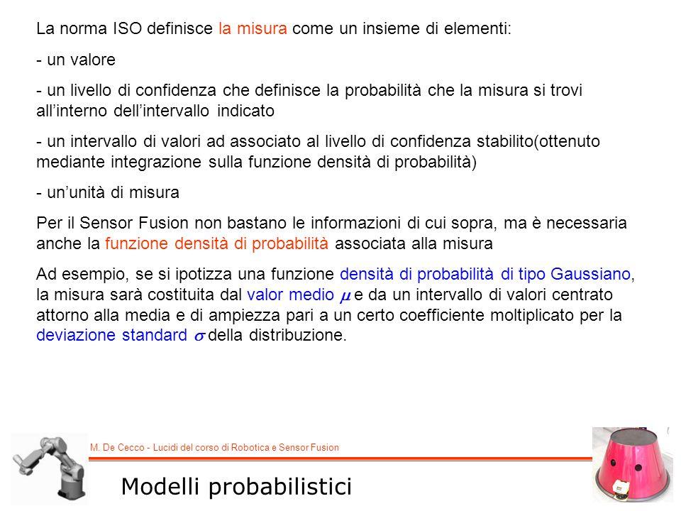 M. De Cecco - Lucidi del corso di Robotica e Sensor Fusion La norma ISO definisce la misura come un insieme di elementi: - un valore - un livello di c