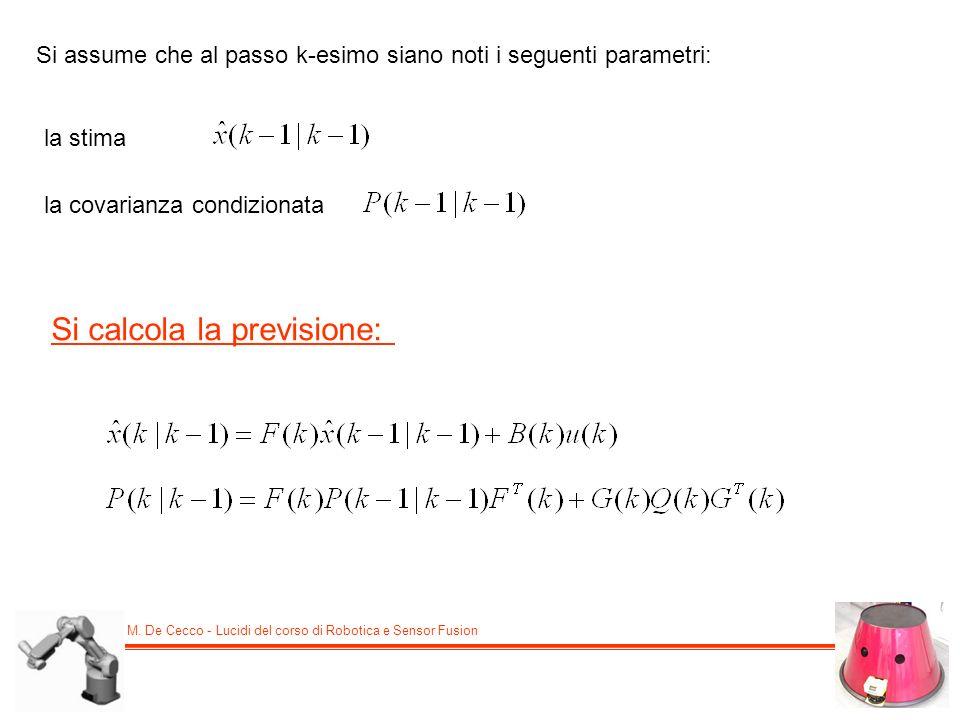 M. De Cecco - Lucidi del corso di Robotica e Sensor Fusion Si assume che al passo k-esimo siano noti i seguenti parametri: la stima la covarianza cond