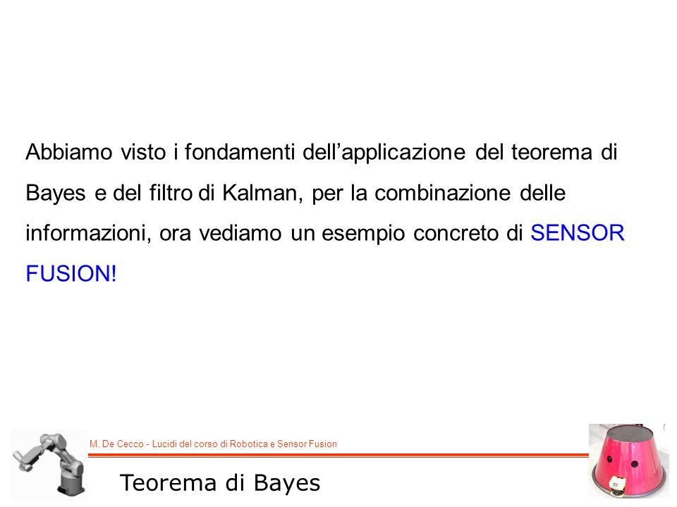 M. De Cecco - Lucidi del corso di Robotica e Sensor Fusion Teorema di Bayes Abbiamo visto i fondamenti dellapplicazione del teorema di Bayes e del fil