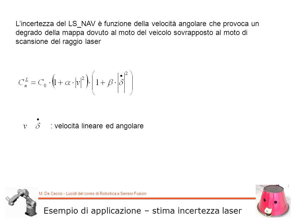 M. De Cecco - Lucidi del corso di Robotica e Sensor Fusion Lincertezza del LS_NAV è funzione della velocità angolare che provoca un degrado della mapp