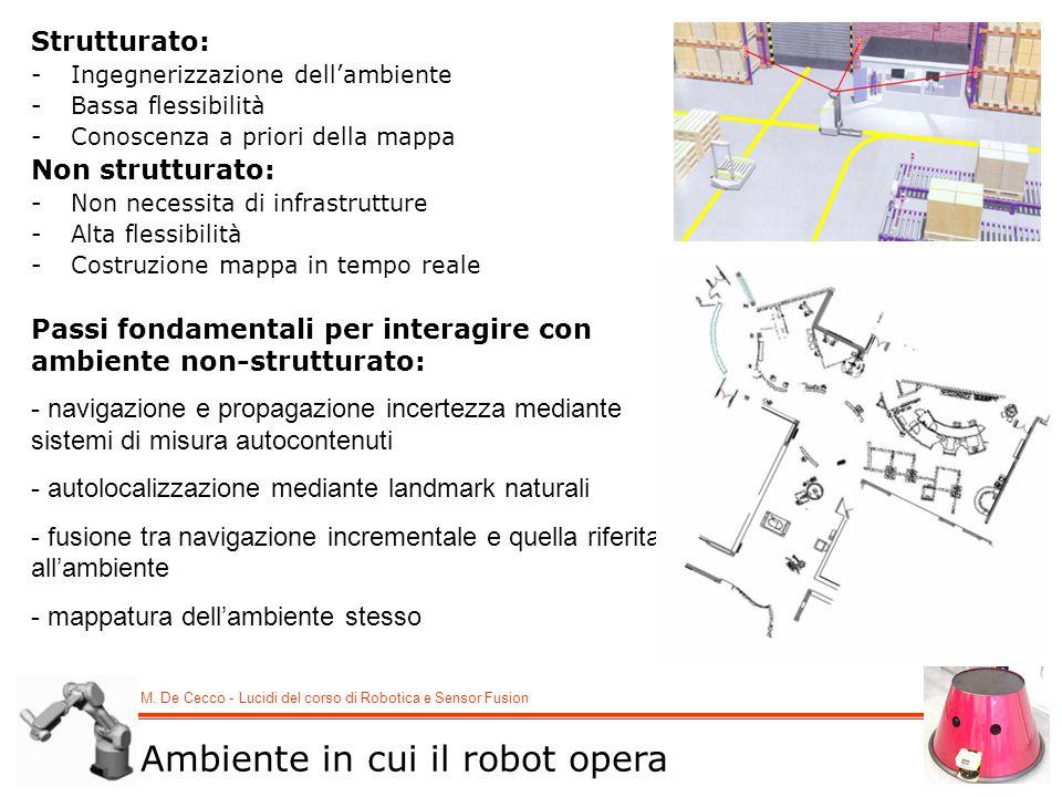M. De Cecco - Lucidi del corso di Robotica e Sensor Fusion Strutturato: -Ingegnerizzazione dellambiente -Bassa flessibilità -Conoscenza a priori della