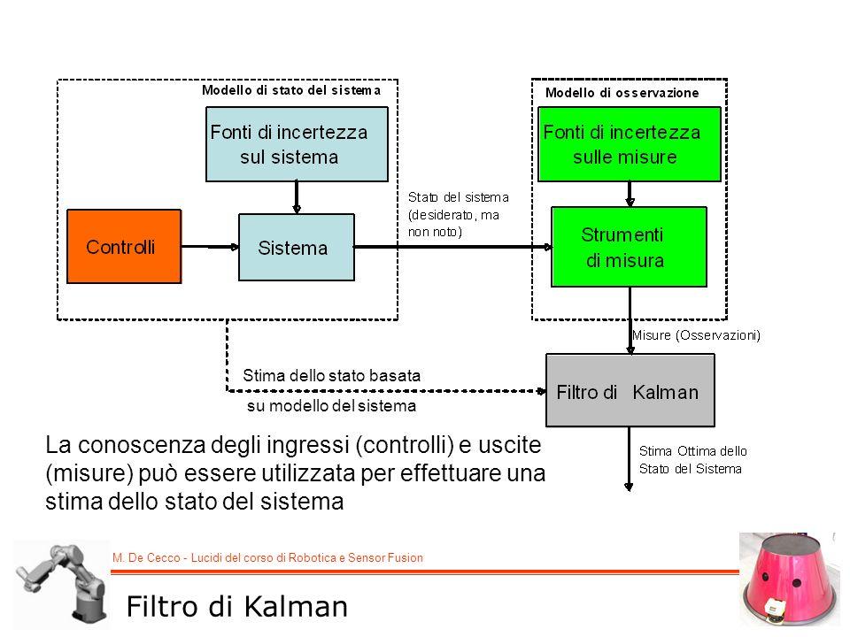 M. De Cecco - Lucidi del corso di Robotica e Sensor Fusion La conoscenza degli ingressi (controlli) e uscite (misure) può essere utilizzata per effett