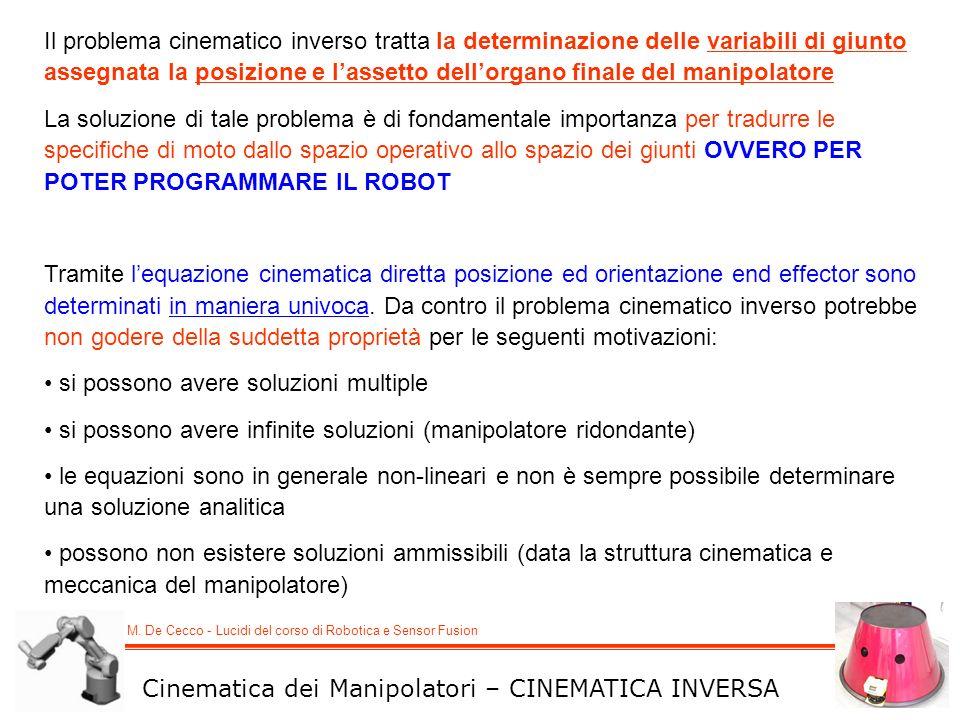 M. De Cecco - Lucidi del corso di Robotica e Sensor Fusion Cinematica dei Manipolatori – CINEMATICA INVERSA Il problema cinematico inverso tratta la d
