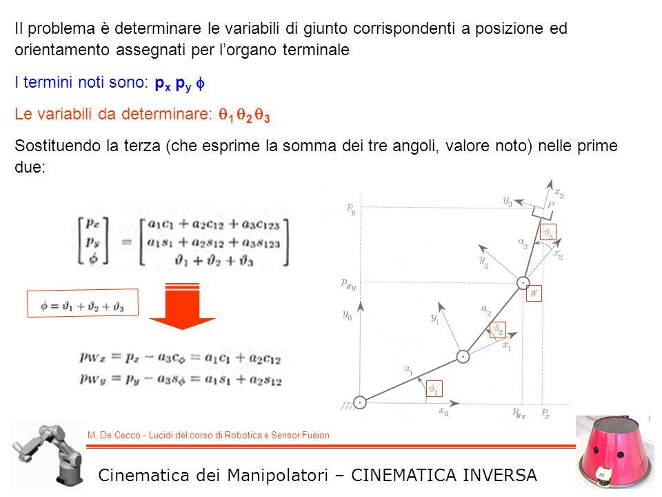 M. De Cecco - Lucidi del corso di Robotica e Sensor Fusion Cinematica dei Manipolatori – CINEMATICA INVERSA Il problema è determinare le variabili di