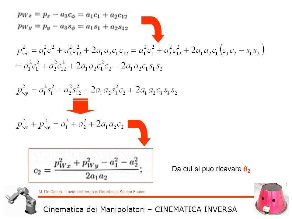 M. De Cecco - Lucidi del corso di Robotica e Sensor Fusion Cinematica dei Manipolatori – CINEMATICA INVERSA Da cui si puo ricavare 2