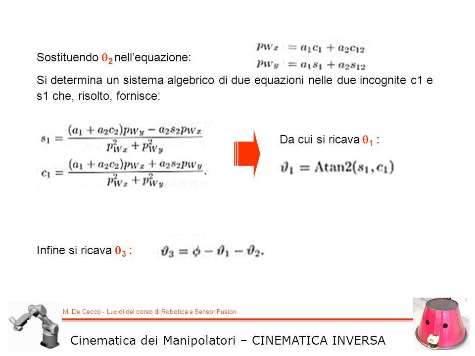 M. De Cecco - Lucidi del corso di Robotica e Sensor Fusion Cinematica dei Manipolatori – CINEMATICA INVERSA Sostituendo 2 nellequazione: Si determina