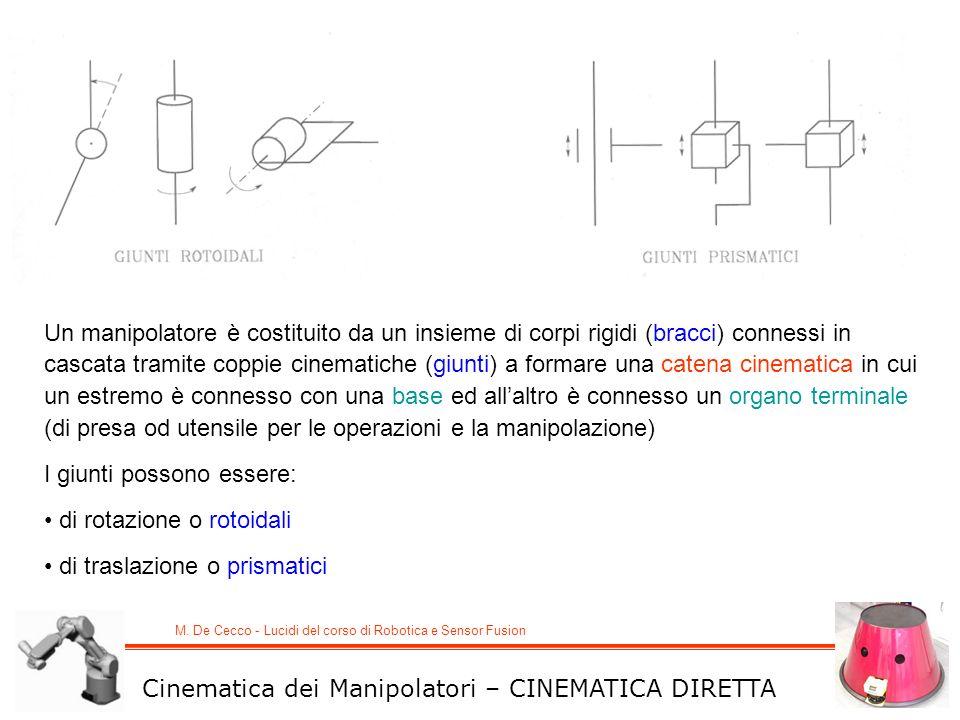 M. De Cecco - Lucidi del corso di Robotica e Sensor Fusion Cinematica dei Manipolatori – CINEMATICA DIRETTA Un manipolatore è costituito da un insieme