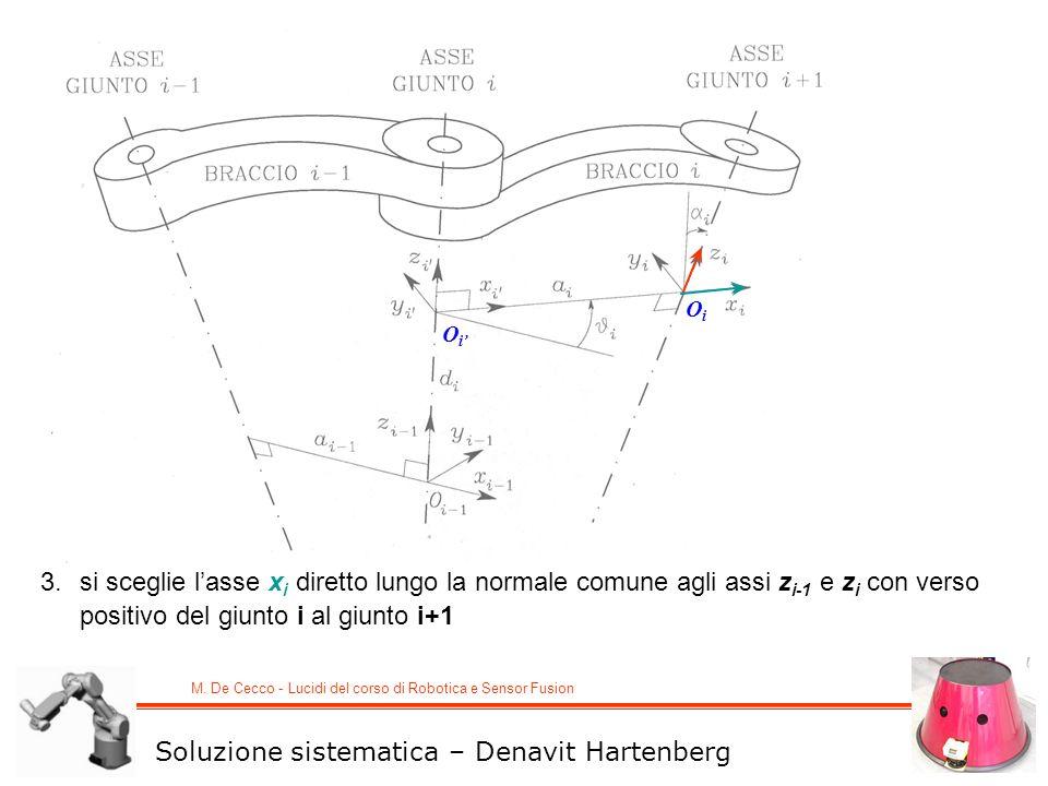 M. De Cecco - Lucidi del corso di Robotica e Sensor Fusion OiOi OiOi 3.si sceglie lasse x i diretto lungo la normale comune agli assi z i-1 e z i con