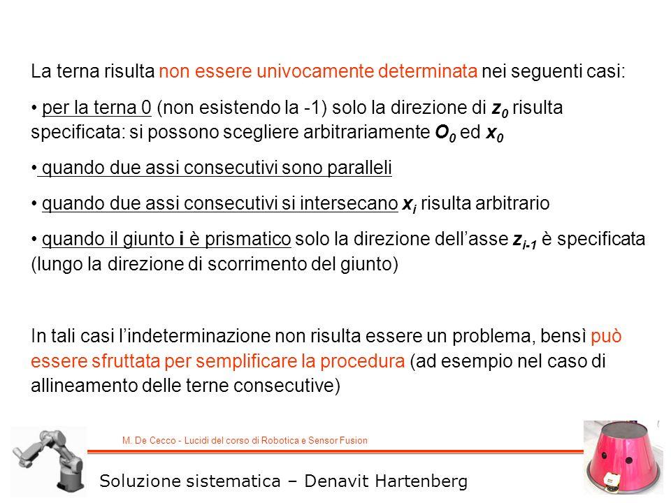 M. De Cecco - Lucidi del corso di Robotica e Sensor Fusion La terna risulta non essere univocamente determinata nei seguenti casi: per la terna 0 (non