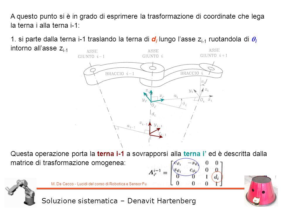 M. De Cecco - Lucidi del corso di Robotica e Sensor Fusion A questo punto si è in grado di esprimere la trasformazione di coordinate che lega la terna