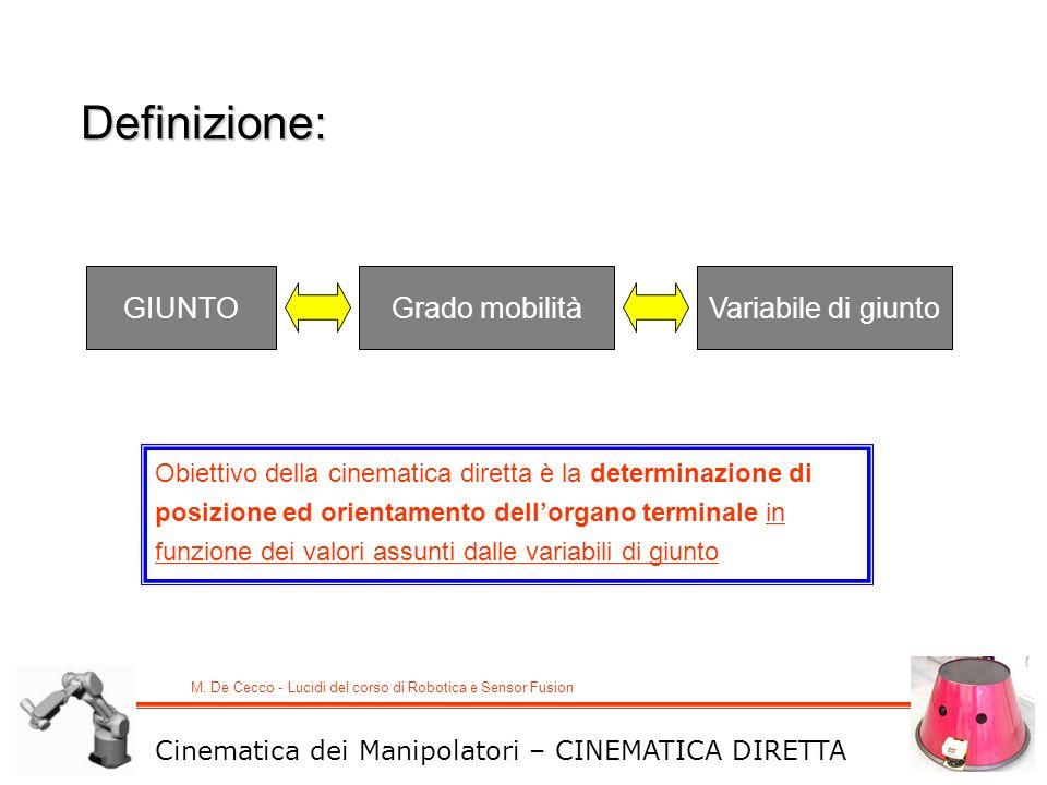 M. De Cecco - Lucidi del corso di Robotica e Sensor Fusion GIUNTOGrado mobilitàVariabile di giunto Cinematica dei Manipolatori – CINEMATICA DIRETTA Ob