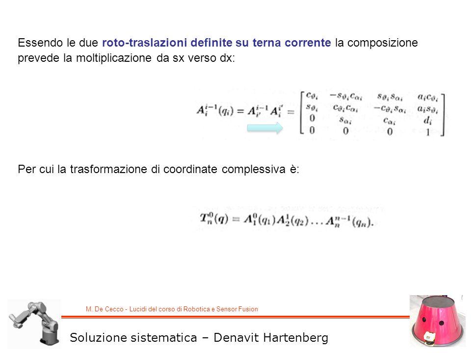 M. De Cecco - Lucidi del corso di Robotica e Sensor Fusion Essendo le due roto-traslazioni definite su terna corrente la composizione prevede la molti