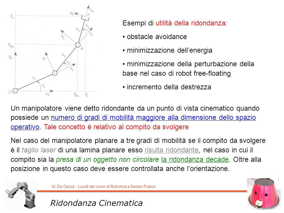 M. De Cecco - Lucidi del corso di Robotica e Sensor Fusion Ridondanza Cinematica Un manipolatore viene detto ridondante da un punto di vista cinematic