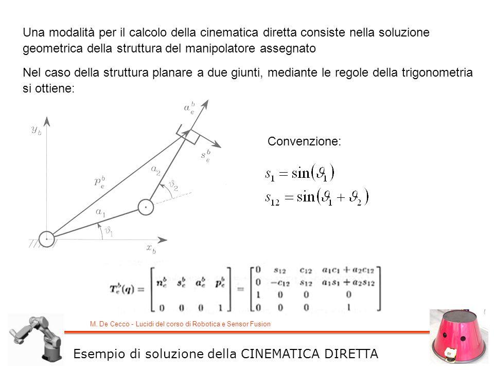 M. De Cecco - Lucidi del corso di Robotica e Sensor Fusion Una modalità per il calcolo della cinematica diretta consiste nella soluzione geometrica de