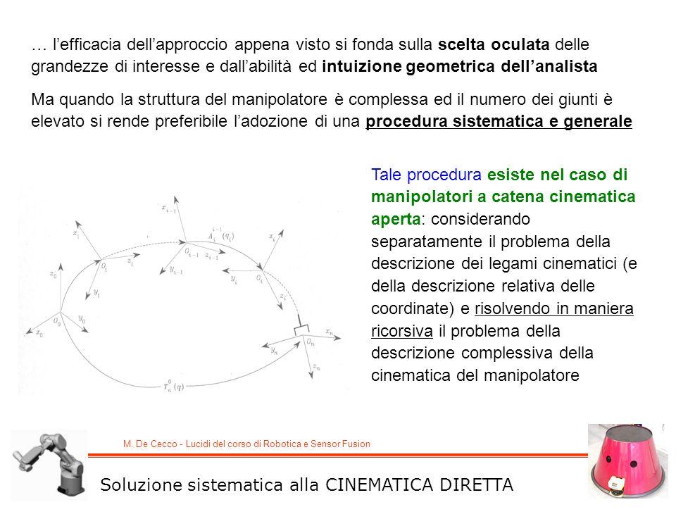 M. De Cecco - Lucidi del corso di Robotica e Sensor Fusion … lefficacia dellapproccio appena visto si fonda sulla scelta oculata delle grandezze di in
