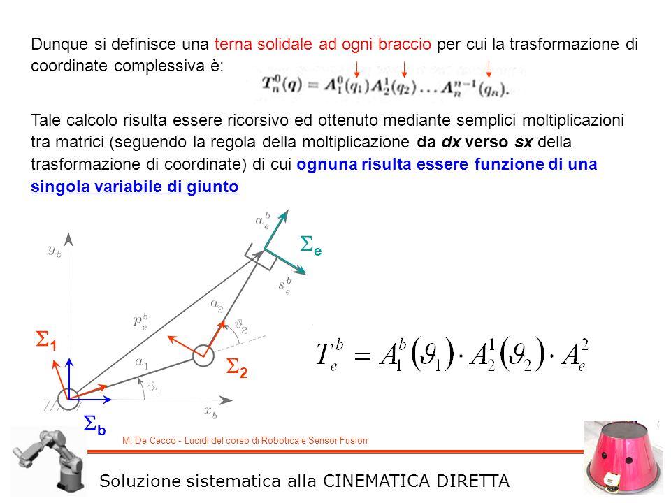 M. De Cecco - Lucidi del corso di Robotica e Sensor Fusion Dunque si definisce una terna solidale ad ogni braccio per cui la trasformazione di coordin