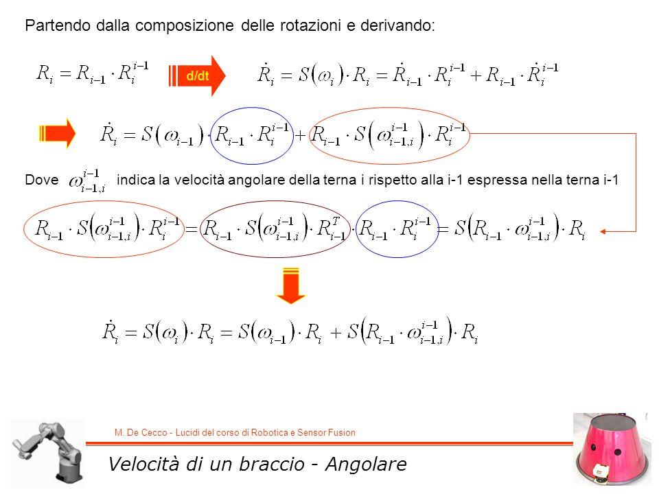 M. De Cecco - Lucidi del corso di Robotica e Sensor Fusion Velocità di un braccio - Angolare Partendo dalla composizione delle rotazioni e derivando: