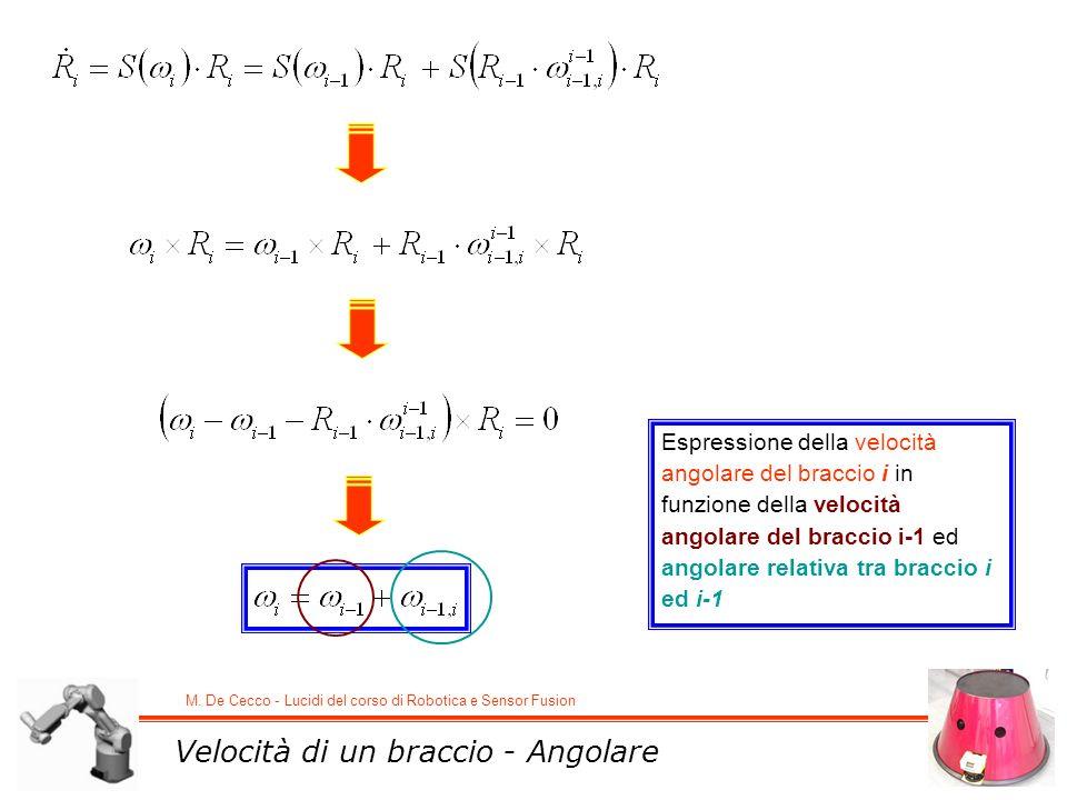 M. De Cecco - Lucidi del corso di Robotica e Sensor Fusion Velocità di un braccio - Angolare Espressione della velocità angolare del braccio i in funz