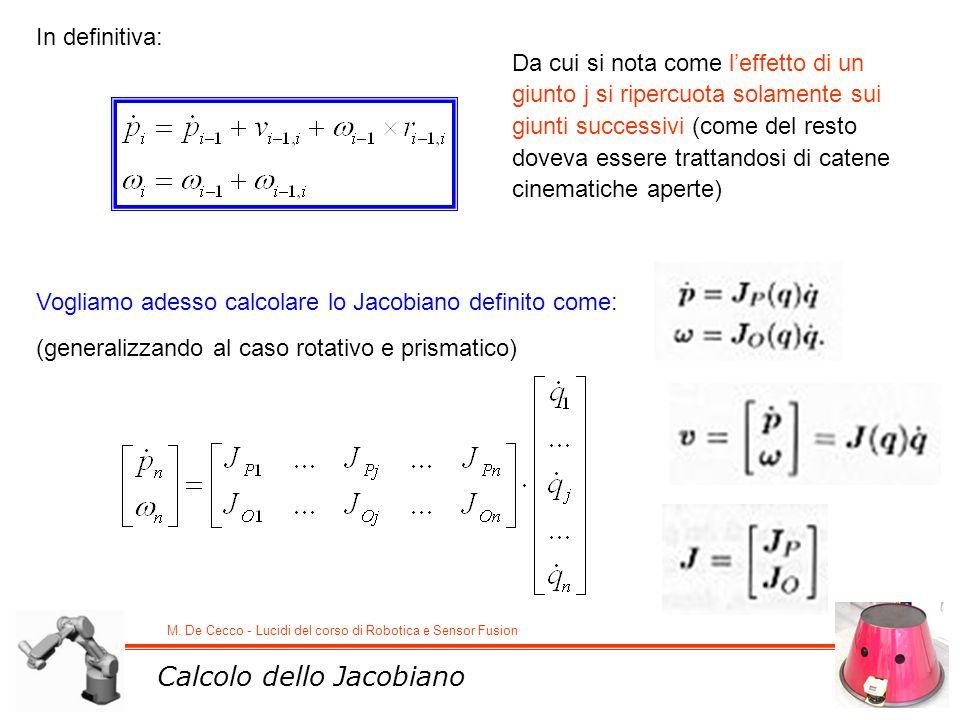 M. De Cecco - Lucidi del corso di Robotica e Sensor Fusion In definitiva: Da cui si nota come leffetto di un giunto j si ripercuota solamente sui giun