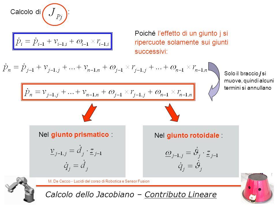 M. De Cecco - Lucidi del corso di Robotica e Sensor Fusion Calcolo dello Jacobiano – Contributo Lineare Calcolo di : Solo il braccio j si muove, quind