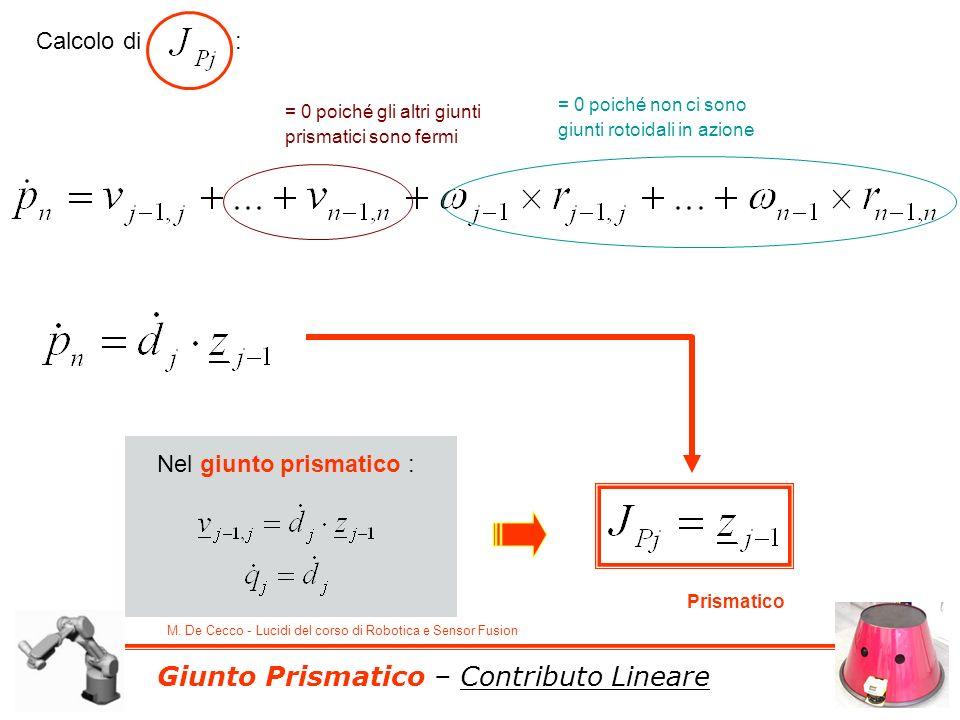 M. De Cecco - Lucidi del corso di Robotica e Sensor Fusion Giunto Prismatico – Contributo Lineare Calcolo di : Nel giunto prismatico : = 0 poiché gli