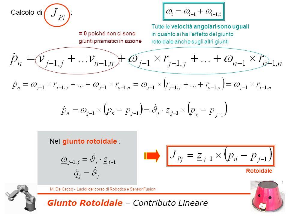 M. De Cecco - Lucidi del corso di Robotica e Sensor Fusion Giunto Rotoidale – Contributo Lineare Calcolo di : = 0 poiché non ci sono giunti prismatici