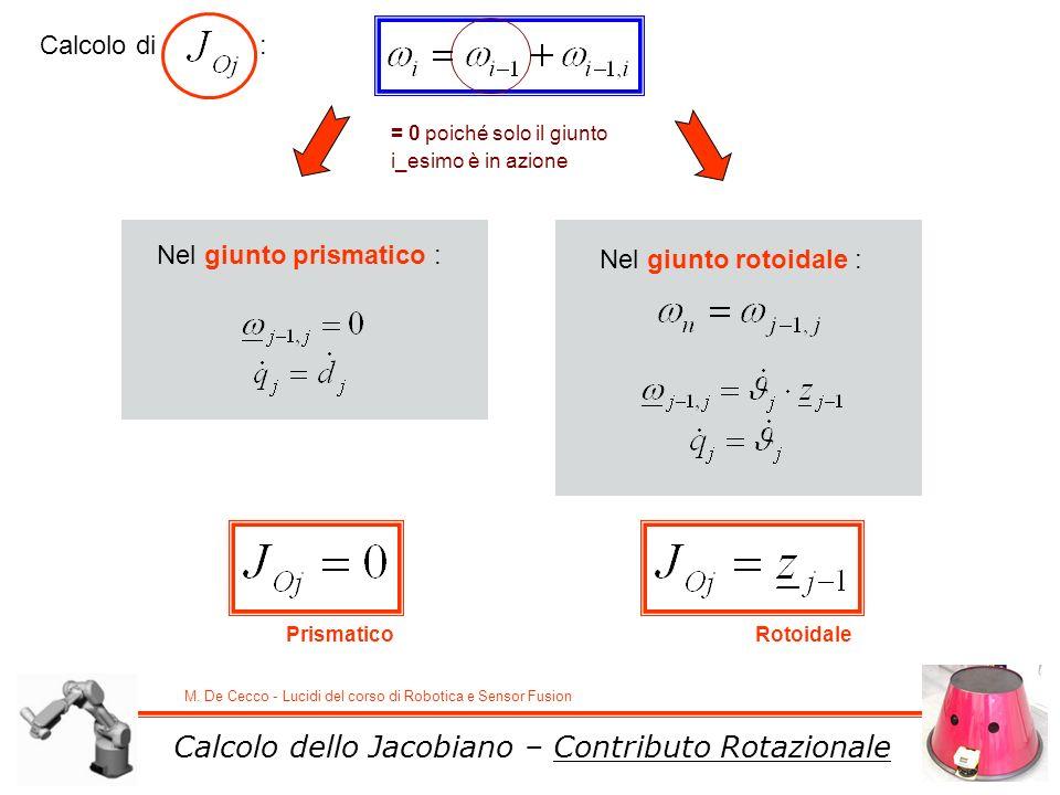 M. De Cecco - Lucidi del corso di Robotica e Sensor Fusion Calcolo dello Jacobiano – Contributo Rotazionale Calcolo di : Nel giunto prismatico : Nel g