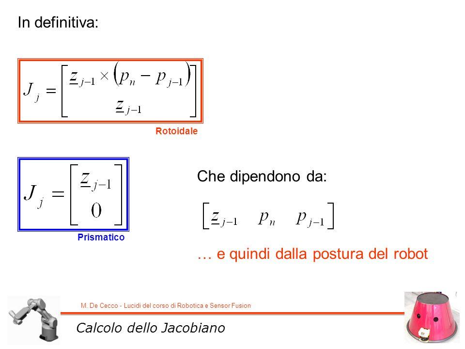M. De Cecco - Lucidi del corso di Robotica e Sensor Fusion Rotoidale Prismatico Calcolo dello Jacobiano In definitiva: Che dipendono da: … e quindi da