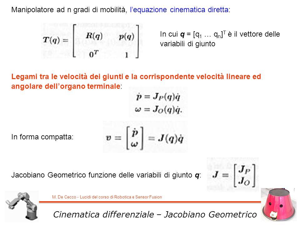 M. De Cecco - Lucidi del corso di Robotica e Sensor Fusion Cinematica differenziale – Jacobiano Geometrico Manipolatore ad n gradi di mobilità, lequaz