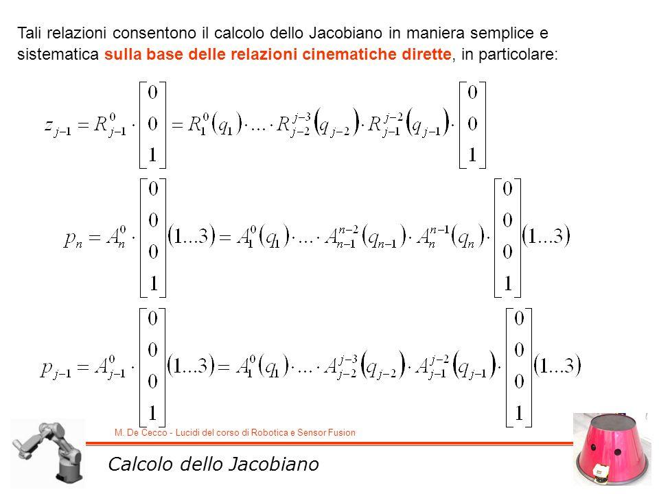 M. De Cecco - Lucidi del corso di Robotica e Sensor Fusion Tali relazioni consentono il calcolo dello Jacobiano in maniera semplice e sistematica sull