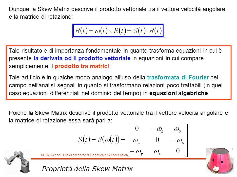 M. De Cecco - Lucidi del corso di Robotica e Sensor Fusion Proprietà della Skew Matrix Dunque la Skew Matrix descrive il prodotto vettoriale tra il ve