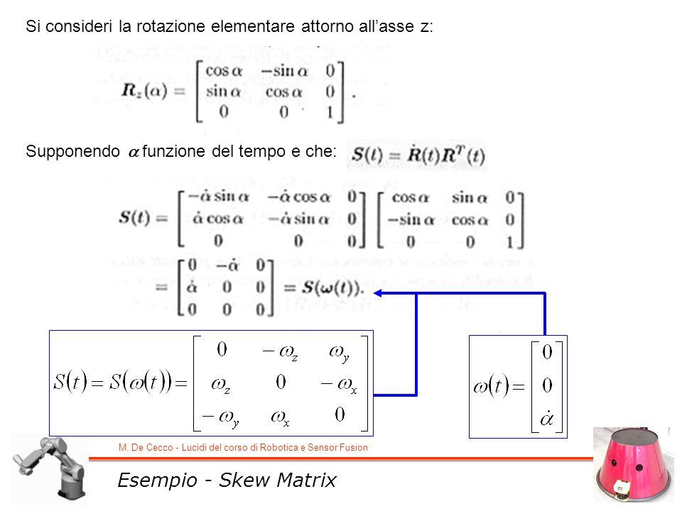 M. De Cecco - Lucidi del corso di Robotica e Sensor Fusion Esempio - Skew Matrix Si consideri la rotazione elementare attorno allasse z: Supponendo fu