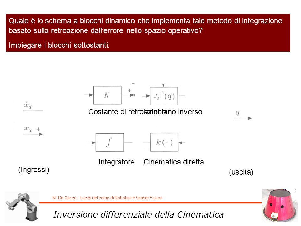 M. De Cecco - Lucidi del corso di Robotica e Sensor Fusion Inversione differenziale della Cinematica Quale è lo schema a blocchi dinamico che implemen