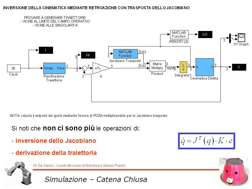 M. De Cecco - Lucidi del corso di Robotica e Sensor Fusion Simulazione – Catena Chiusa Si noti che non ci sono più le operazioni di: - inversione dell
