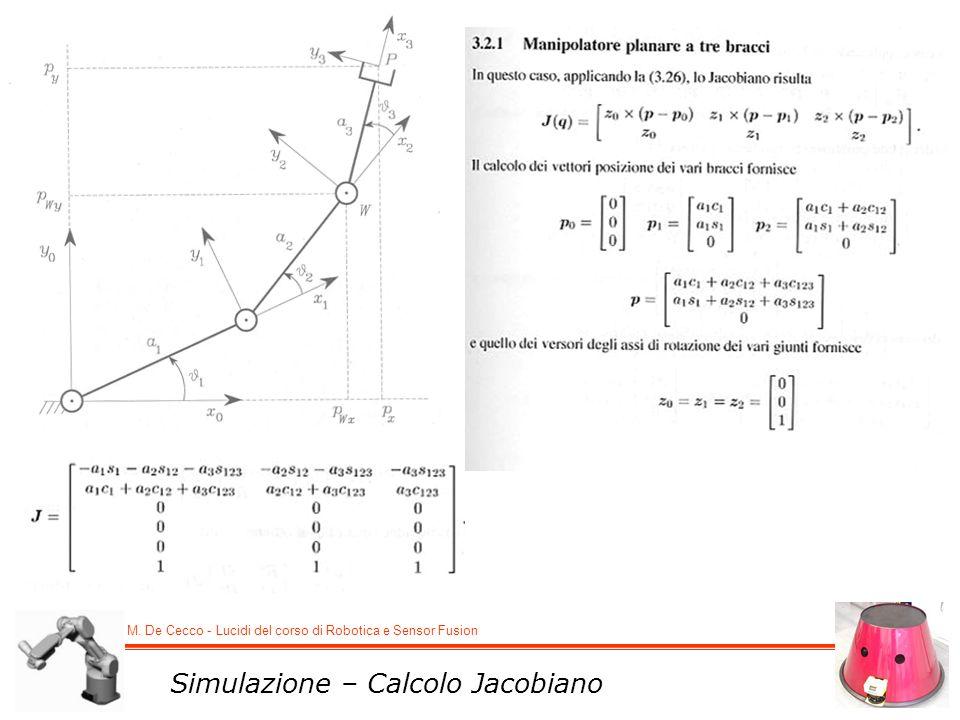 M. De Cecco - Lucidi del corso di Robotica e Sensor Fusion Simulazione – Calcolo Jacobiano