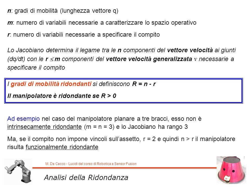 M. De Cecco - Lucidi del corso di Robotica e Sensor Fusion Analisi della Ridondanza n: gradi di mobilità (lunghezza vettore q) m: numero di variabili